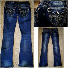 BUCKLE ROCK REVIVAL SORA BOOT CUT STRETCH RHINESTONE BLING JEANS~SIZE 25 X 31