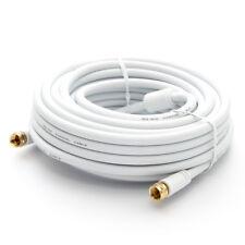 15m HDTV Sat Antennenkabel mit F-Stecker TV Koax Kabel 4K Fernsehanschluss Weiß