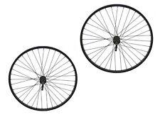 "26"" x 1.50"" Alloy Front & Rear Freewheel Wheel 36 Spoke 14g Black 3/8 Q.R."