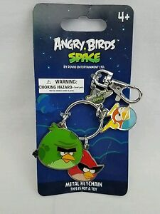 New Angry Birds Space Metal Charm Key Chain Souvenir Green Red & Blue
