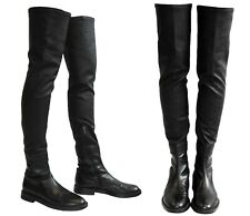 Ann Demeulemeester Black Thigh High Over-The-Knee Leather Biker Boots Size 38.5