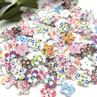 50//100//500pcs New Flower Wood Buttons 16mm Sewing Crafts Tools Mix W144
