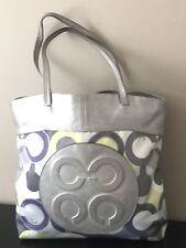 Coach Julia Op Art Perry Lilac Scarf Print Tote Shopper Purse Bag 14970 Euc