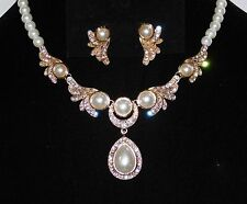 Bridal Gold W. Ivory Pearl & Rhinestone Necklace and Earrings Set