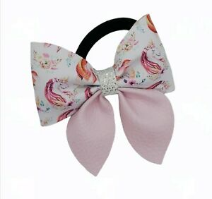 Pink Unicorn HAIR BOBBLE BOW  GIRLS BABY HAIR BOW pink  Bow School PONYTAIL