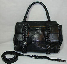 Diane Von Furstenberg Black Leather Hand/Shoulder Bag w/Multiple Comp. Studs