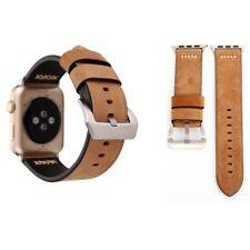 Echtleder Leder Armband Khaki für Apple Watch Serie 1 / 2 / 3 42 mm Zubehör Neu