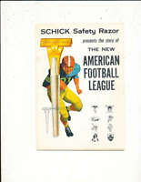 1960 Schick razor AFL American Football League Guide Yearbook 26 pages