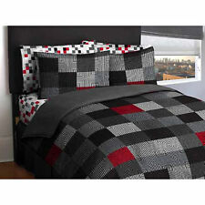 Queen Bedding Set Comforter Sheets Bed In a Bag Reversible Gray Blocks Complete