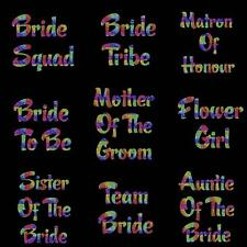 Personalized Bridesmaid Iron On Transfer T Shirt Hen Party Sparkle Rainbow 7718