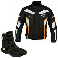 Men Motorcycle Textile Jacket Orange with Motorcycle Racing Armoured Black Shoes
