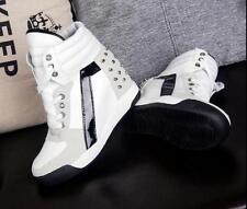 Punk Women Hidden Platform Wedge Heels High Top Lace Up Sneaker Athletic Shoes