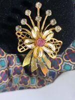 Vintage Rhinestone and Enamel Gold Tone Floral Brooch
