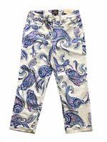 NYDJ Chicos Capri Pants 2 NWT White Blue Fanciful Paisley Crop Lift Tuck Slim