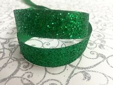 "5/8"" Gree Satin Glitter 4 yards Ribbon-Christmas-Fabric-Sparkle-Shinny-Hair Bow"