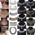 Women Gold Tiara Choker Collar Rhinestone Crystal Pendant Chain Necklace Jewelry