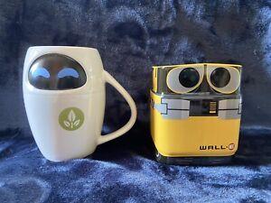 NEW DISNEY STORE EXCLUSIVE PAIR OF WALL E & EVE PIXAR CERAMIC MUGS ROBOT 3D CUP