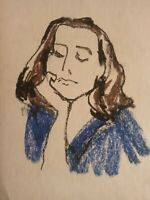 Drawing OIL PASTEL PORTRAIT YOUNG WOMAN ORIGINAL
