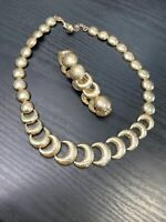 "Vintage Liz Claiborne Gold  Moon Sun Link 18"" Necklace Stretch Bracelet Set"