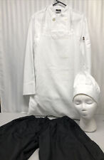 Culinary Chef's Uniform Jackets Long Sleeve Chef Coat Pants Apron Hat Size Small