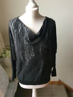 MINT VELVET Dark Grey Cowl Neck Jumper Size M (12/14) Long Sleeve 6% Cashmere