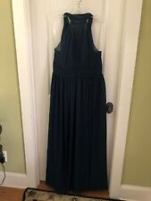 Azazie Long Blue Crepe Formal Mother Of The Bride Bridesmaid Dress 12 / 14