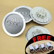 4 Silver Car Alloy Wheel Center Hub Cap Emblem Badge Logo 145mm AUDI 4E0601165A