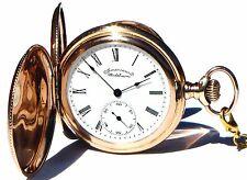 Antique Gold Filled FULL Hunter Case Pocket Watch  Waltham Working