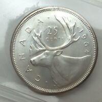 1964 Canada 25 Twenty Five Cents Quarter Canadian Graded ICCS XNI 231 Coin D070