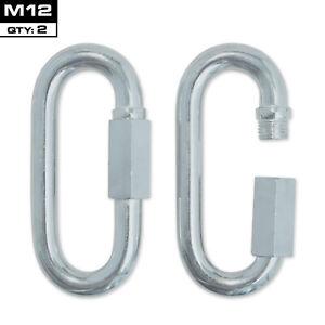 MEISTER QUICK LINK SCREWLOCK CARABINERS - M12 x 2 PACK - Galvanized Steel Clips