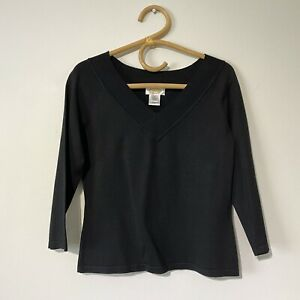 Small Womans NWOT TALBOTS Black Classic Silk Blend V-Neck Top