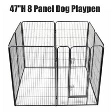 "47"" Foldable Dog Pet Playpen Heavy Duty Metal Exercise Fences 8 Panel Puppy Gate"