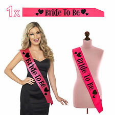 1x Sash Sashes Bride To Be Hens Night Party Wedding Bridal Bridesmaid Maid Pink