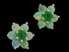 E058 Genuine 9ct Solid Gold Natural Opal & Emerald Blossom Stud cluster Earrings