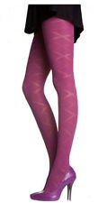 2 Pairs Pretty Polly Opaque Diamond Pattern Raspberry Tights One Size