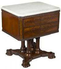 SWC-Rare Classical Figured Mahogany Marble Top Mixing Table, New York, c.1845