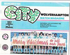 Manchester City v Wolves Wolverhampton 1980  / 81  Division 1 - December 27th