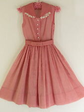 Vintage 50s Ellen Kaye Womens Sleeveless Rockabilly Rose Swiss Dotted Dress
