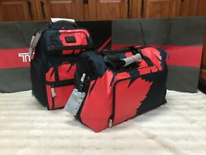 Tumi Alpha 3 T-Pass Brief Pack Business Class Backpack Navy and Red Congo Print