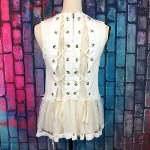 POL Clothing White Floral Lace Trim Top Corseted Back Womens Small HKT42