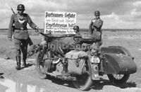 WW2 Picture Photo Russia 1942 German Soldiers in a Motorcycle with Sidecar  3179