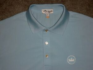 Men's NWOT PETER MILLAR Summer Comfort Polo M SKY BLUE w/Stripes w/PM Crown Logo
