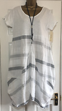 NEW ITALIAN LAGENLOOK STRIPE PANEL TWIST TUNIC DRESS WHITE FIT 12 14 16 18 C5A