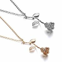 Women Fashion Silver/Gold Plated Rose Flower Pendant Necklace Beauty Jewelry Hot