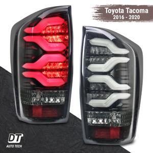 Alpharex 2016-2020 Tacoma Optic-Style Tube LED Tail Lights Brake Lamp- Jet Black