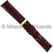 19mm Speidel Mens Croco Grain Brown Genuine Leather Padded Watch Band Strap