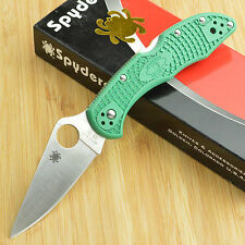Spyderco Delica 4 Green FRN  Full Flat Ground VG10 Lockback Knife C11FPGR