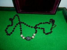 Necklace Beaded with Black Onyx /Crystal Glass/fake pearls/ faceted gray stone