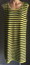 NWOT  RJ WEAR Lime Green & Black Stripe Knit Tunic/Dress/Top Plus Size XL 16-18