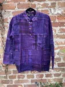 Thick Winter Patchwork shirt, hippie,boho, festival shirt size M